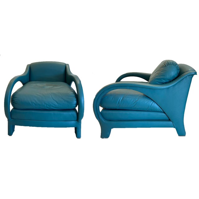 Celadon Jay Spectre Tycoon Leather Lounge Chairs- a Pair For Sale - Image 8 of 8
