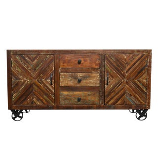 Reclaimed Wood Sideboard on Iron Wheels For Sale