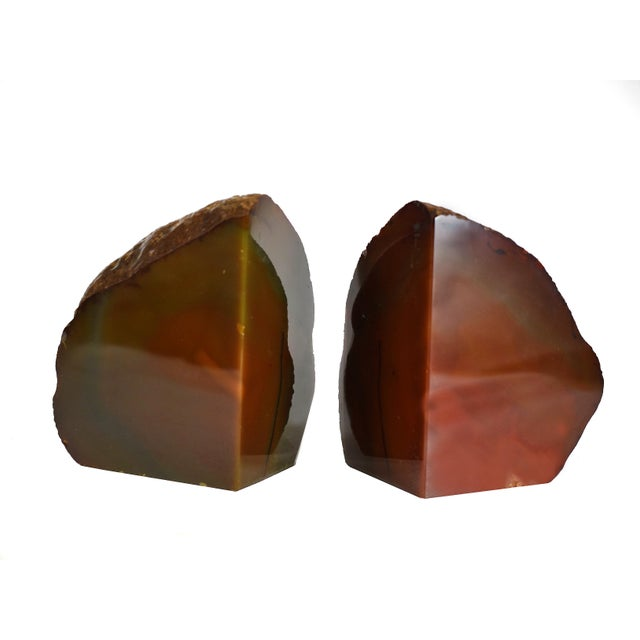 Boho Chic Red Agate Natural Geode Stone Bookends - a Pair For Sale - Image 3 of 7