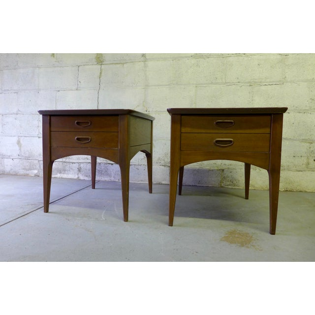 Mid Century Modern Walnut Nightstands - A Pair - Image 2 of 6