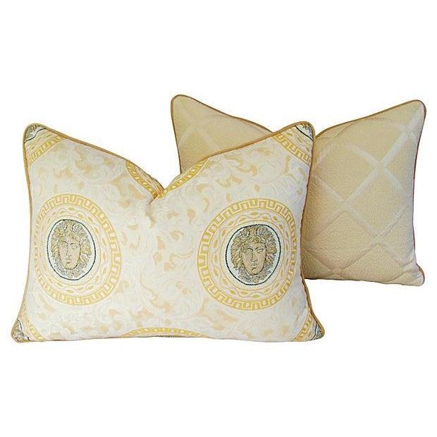 Custom Italian Versace-Style Medusa Pillows - Pair - Image 6 of 9