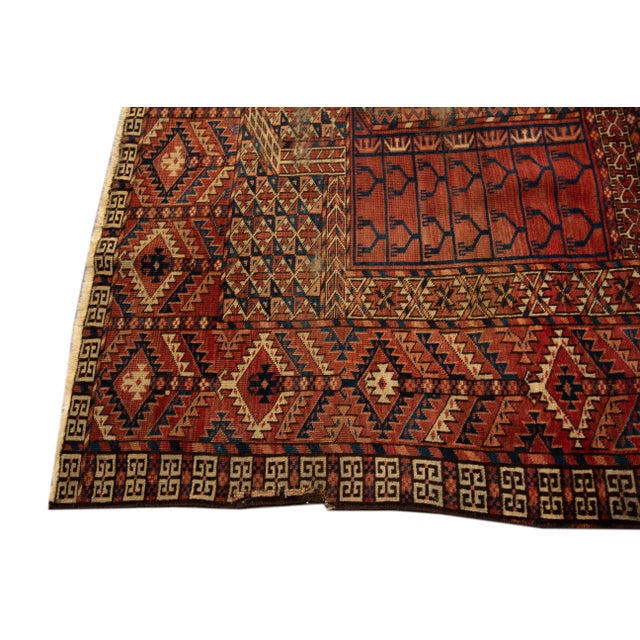 """Distressed Antique Turkaman Rug, 4'2"""" X 5' For Sale - Image 4 of 8"""
