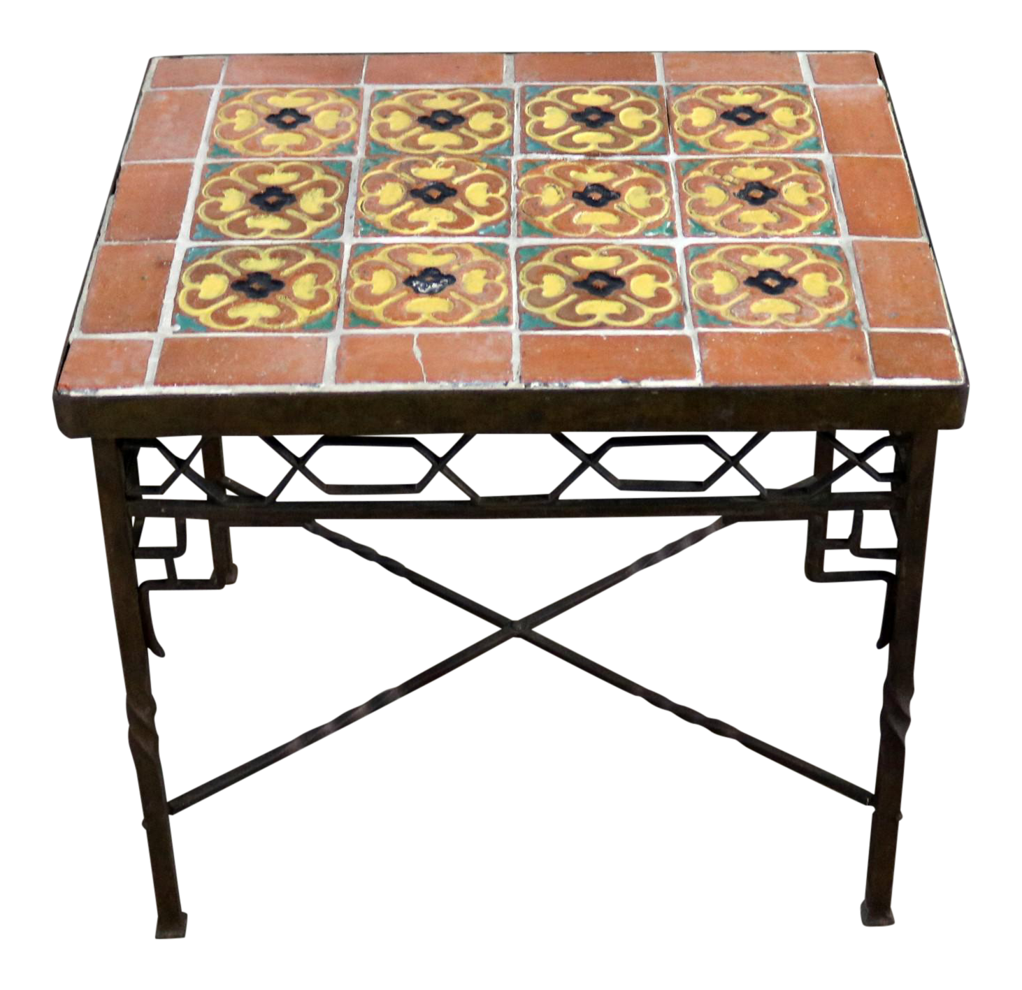 art deco outdoor furniture. Art Deco Wrought Iron And Tile Side Table California Style Tiles Outdoor Furniture U