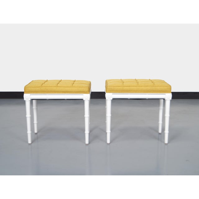 Danish Modern Vintage Faux Bamboo Stools For Sale - Image 3 of 8