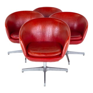 Mid Century Red Vinyl Pod Occasional Lounge Chairs - Set of 4 For Sale