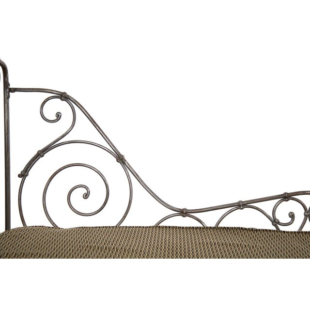 Antique French Wrought Iron Campaign Style Daybed Sofa For Sale - Image 9 of 13