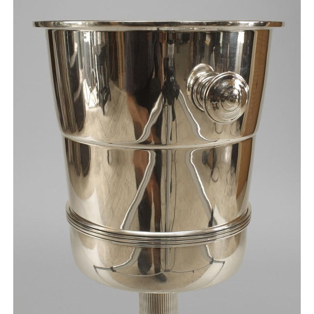 Art Deco style silver plate champagne bucket with round handles set into a fluted column stand with a round base (as is)