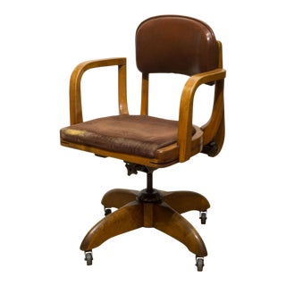 Adjustable Leather and Oak Swivel Desk Chair C.1940 For Sale