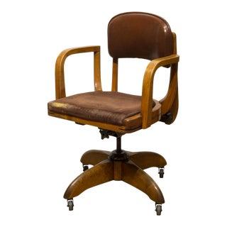 Adjustable Oak Swivel Desk Chair C.1940 For Sale