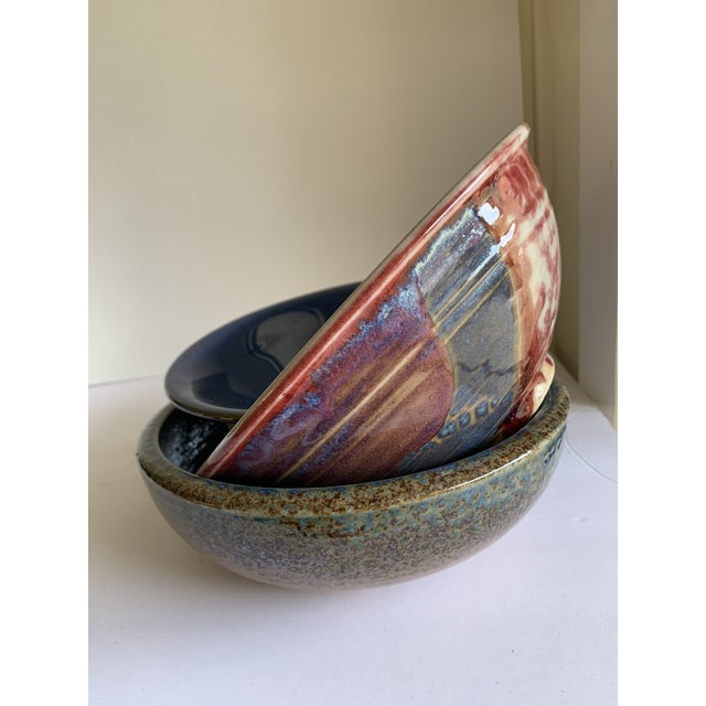 Rustic Farmhouse Style Pottery Bowls, Set of Three For Sale - Image 11 of 13