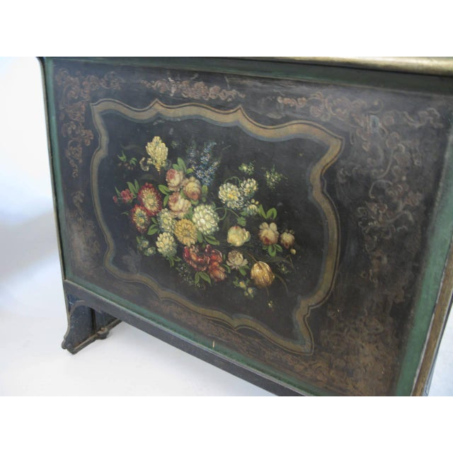 Metal Antique Victorian Hand-Painted Cast Iron Bed For Sale - Image 7 of 8