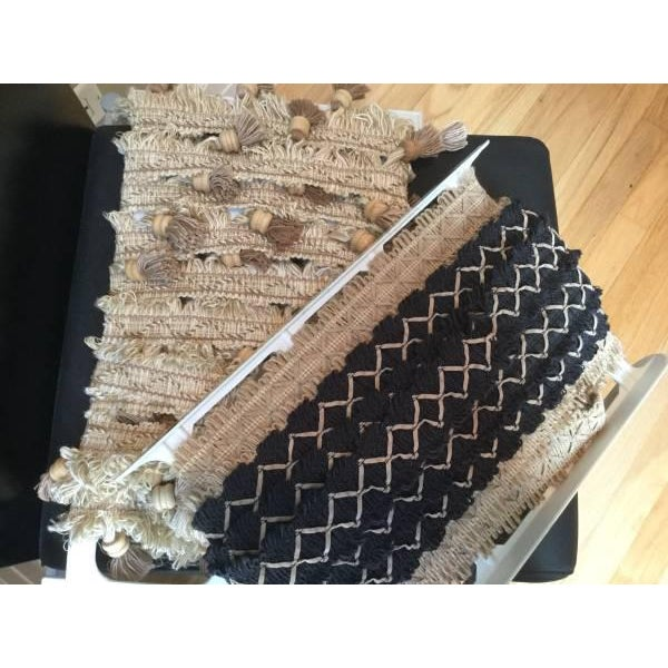4+ yards (one piece) of new Kravet black flat trim with beige ultra suede diamonds. Retail $32.00/yard Overrun from pillow...