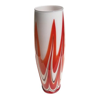 Sculptural Mid 20th Century Italian Murano Style Red and White Glass Vessel or Vase For Sale