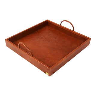 Casa Cosima Ives Trellis Embossed Leather Tray For Sale