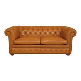 Tan Leather Tufted Chesterfield Sofa W. Tack Head Trim