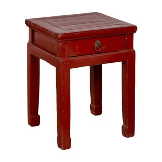 Early 20th C. Chinese Red Lacquer Stool With Drawer and Horse-Hoof Legs For Sale