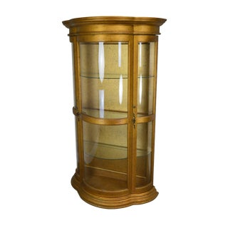 Hollywood Regency Vintage 1960's Serpentine Giltwood Bow Glass Curio Vitrine Cabinet For Sale
