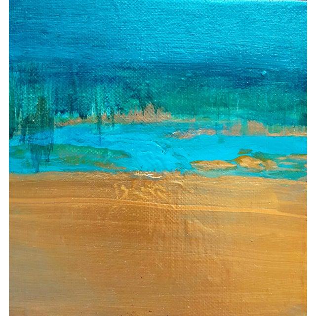 Abstract Art Original Turquoise Metallic Canvas Landscape Painting - Image 3 of 3