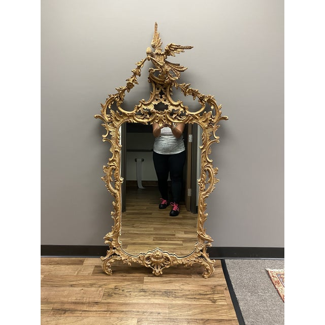 Baroque 1960s Italian Style La Barge Gold Leaf Mirror For Sale - Image 3 of 8