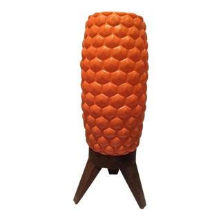 1960s Mid Century Modern Tripod Orange Bubble Lamp For Sale