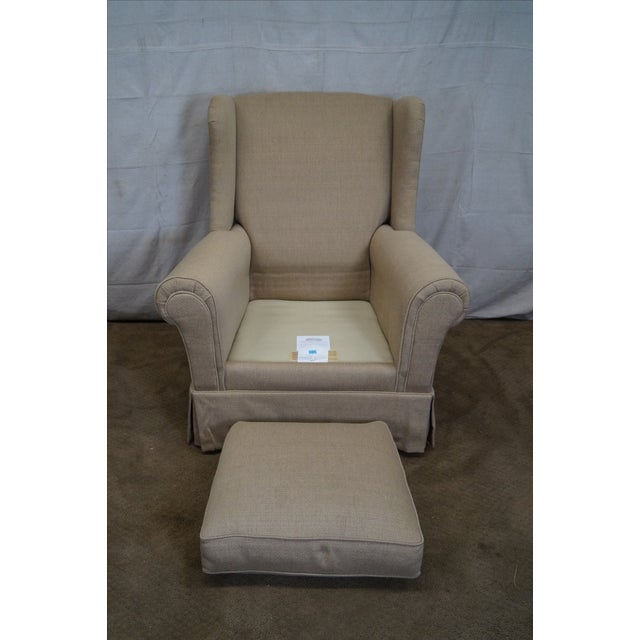 Tan Lexington Tan Upholstered Lounge Chair For Sale - Image 8 of 10