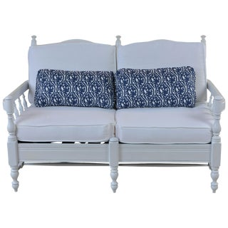 French Provincial Style 2 Person White Settee For Sale
