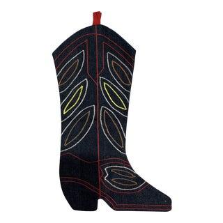 Handmade Cowboy Boot Christmas Stocking For Sale