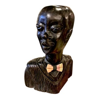 Large Carved Bust of African Man For Sale