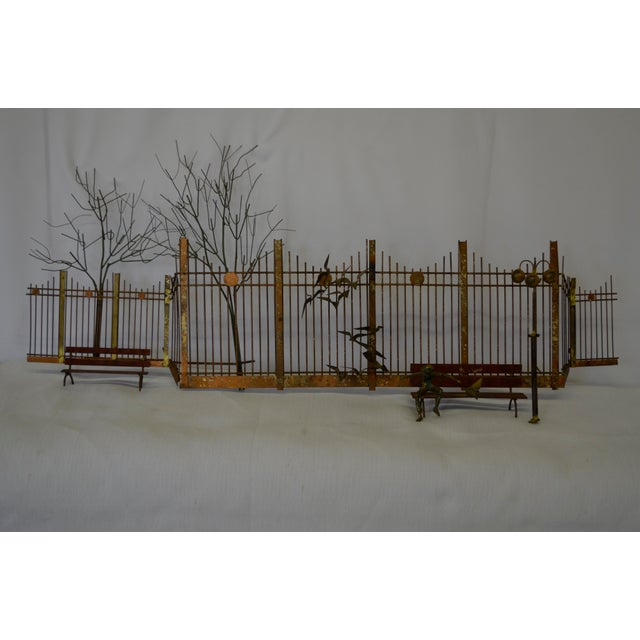 1960s Mid-Century Modern Curtis Jere Metal and Brass Park Scene Wall Sculpture For Sale In San Antonio - Image 6 of 6