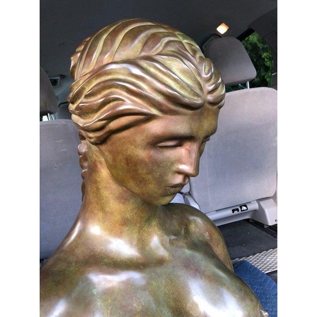 Metal 1940s Art Nouveau John Destefano Female Bronze Nude Sculpture For Sale - Image 7 of 11