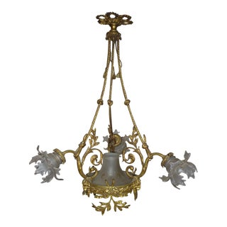 Antique Renaissance Style Gilt-Bronze and Patinated-Bronze Chandelier For Sale