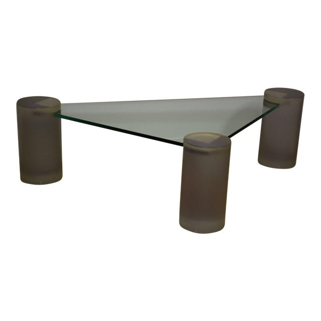 Triangle Coffee Table Wood.Glass And Lucite Triangle Coffee Table