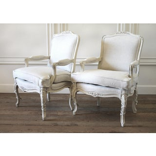 Vintage Mid-Century Louis XVI Style Bergère Chairs - A Pair Preview