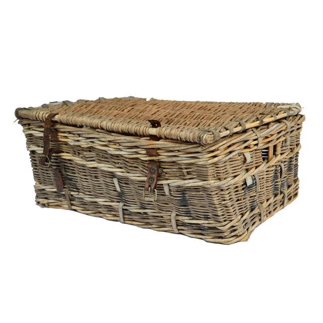 French Willow and Leather Trunk - Image 2 of 4