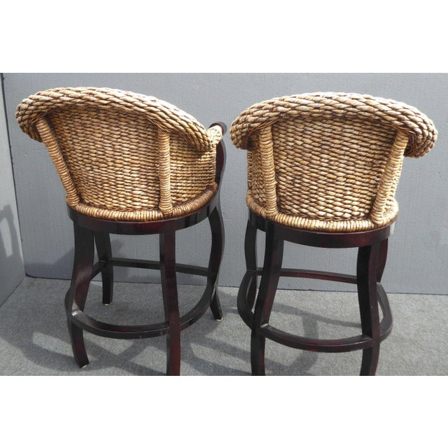 Tiki Palm Beach Style Woven Wicker Bar Stools - A Pair - Image 6 of 11