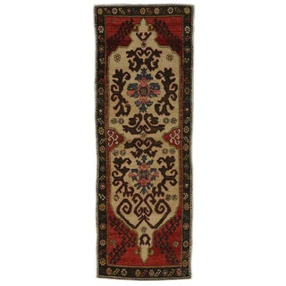 Vintage Turkish Oushak Carpet Runner with Traditional Modern Style