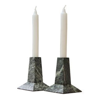 Memphis 80s Green Marble Candle Holders, A Pair