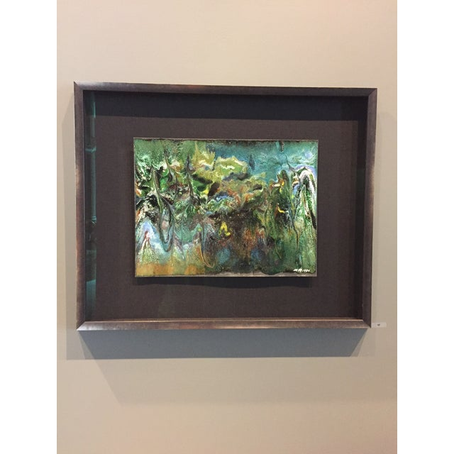 "Robert Kuo Contemporary Abstract Framed Enamel Painting on Copper Untitled ""XVII"" by Ming Chiao Kuo For Sale - Image 4 of 4"