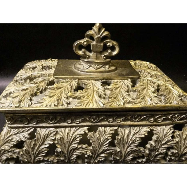 Scrolling Openwork Leaf Design Gold Footed Box - Image 5 of 5