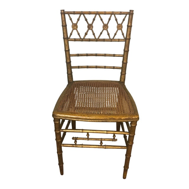 19th Century Giltwood Faux Bamboo Chair For Sale