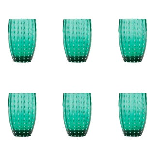 Perle Tumbler in Green - Set of 6 For Sale