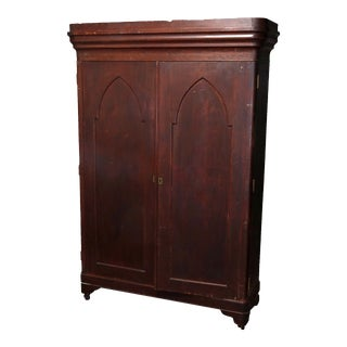 Antique American Empire Flame Mahogany Gothic Style Double Door Armoire For Sale