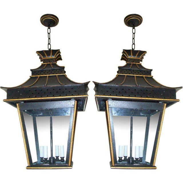A Pair of Custom Asian-Inspired Tole Painted Lanterns For Sale In New York - Image 6 of 6