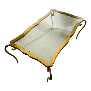 Vintage French Gilt Coffee Table After Rene Prou For Sale