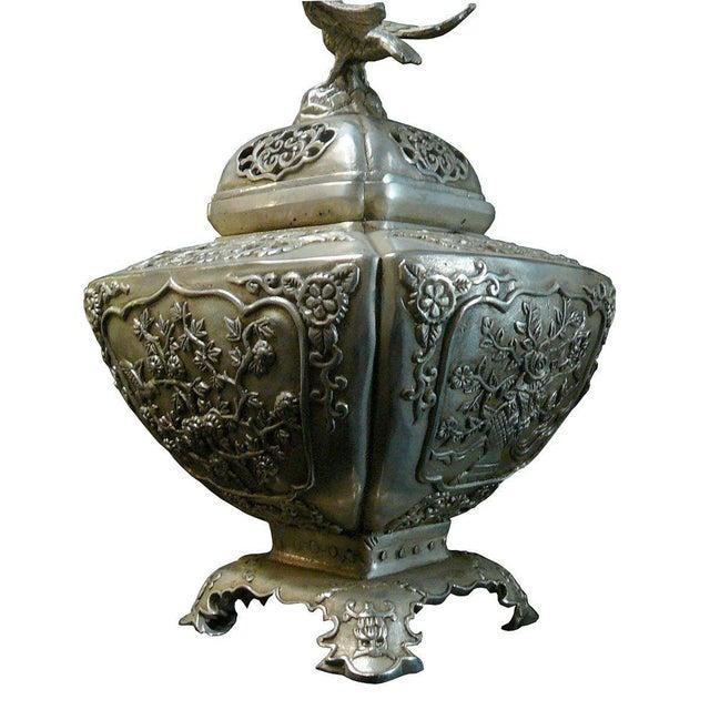 Asian Silver Coating Artisitic Square Vase Shape Incense Burner Display For Sale - Image 3 of 6