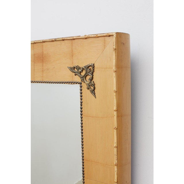 Metal Pair of Bamboo Mirrors With Book Motif For Sale - Image 7 of 12