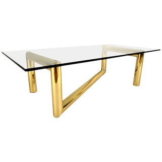 Mid-Century Modern Karl Springer Style Tubular Brass Zig Zag Sculpture Coffee Table For Sale