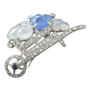 Trifari Art Deco Carved Glass Diamante Crystal Wheelbarrow Brooch C 1940s For Sale