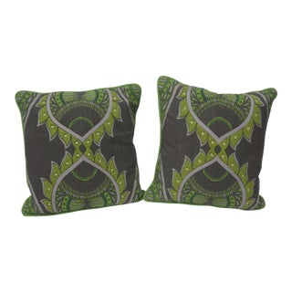 Vintage Pillows Ikat Style in Green - a Pair For Sale