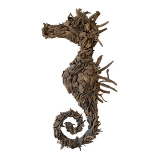 Oversized Driftwood Seahorse Wall Sculpture For Sale